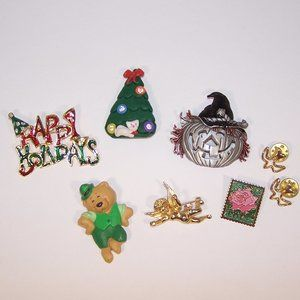 Lot of 8 mostly holiday lapel pins